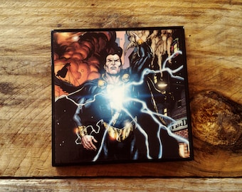 Black Adam, comic, book, ceramic, tile, drink, coaster, DC comics, Shazam