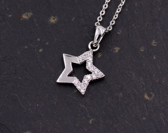 Sterling Silver You are A Star Pendant Necklace  - 'Shine Bright' - with Sparkly CZ Crystals   z54