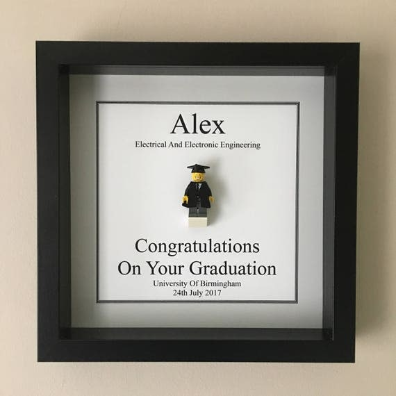 Graduation Minifigure Frame, Mum, Gift, Geek, Box Frame, Friends, Dad, Idea, University, Anniversary, College, For Him, School, Pass