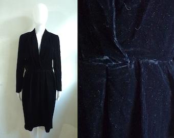 40%offJuly25-27 70s black velvet dress size small / medium, black crushed velvet party dress, 1970s minimalist sheath dress