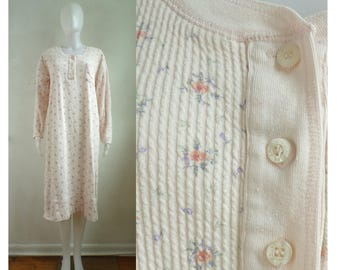 40%OffJune20-22 90s victorias secret nightgown size medium, ribbed cotton floral print light pink pajamas 1990s soft night gown lounge wear
