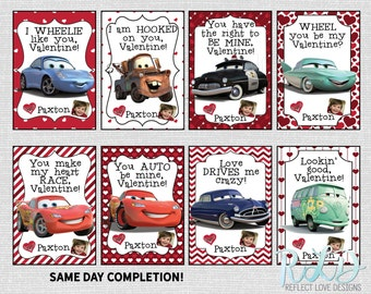 Disney Pixar Cars Valentine Personalized Card for School with Photo Digital Printable SAME DAY Completion
