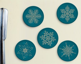 Snowflake Magnets - snow, snow flake, vintage, retro, teal, blizzard, hostess gift, holiday, christmas, Father's Day Gift, Gift for Dad