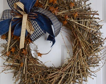 Navy Denim and Beige Sunburst Grapevine Wreath with Rusty Stars and Rusty Tin Bow; Country Primitive Rustic Door Decor Wreath; Blue & Beige