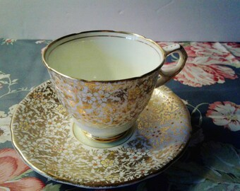 Free Shipping Royal Stafford Spring Green and Gold Cup and Saucer