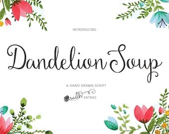 Dandelion Soup Hand made script font with ornaments