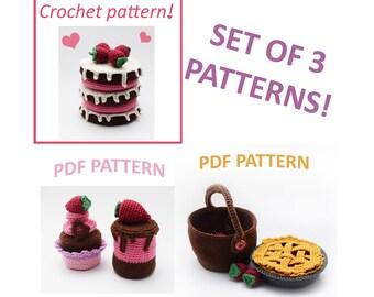 Play set for kids, crochet food patterns, crochet play food, play food patterns, crochet play food set, pdf patterns, Pretend play set