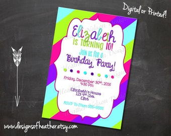 Colorful Stripes Digital Birthday Invitation