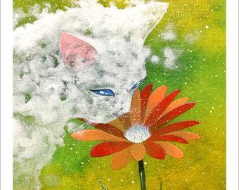 The cloud embraces a flower
