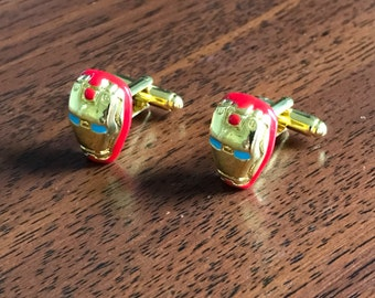 Iron Man Cufflinks, Iron man jewellery, iron man, ironman, marvel gifts, super hero gifts, gifts for dad, gold cufflinks, red cufflinks