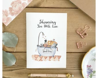 BRIDAL SHOWER CARD / bridal shower gift, card for bride, cute card for bride, cute bridal shower card, cute wedding card, funny wedding card