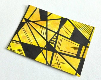 ACEO original modern art card abstract painting yellow and black - Focus ATC by Caerys Walsh