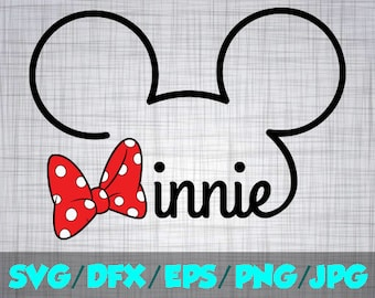 Minnie SVG Disney Iron On Decal Cutting File / Clipart in Svg, Eps Dxf Png & Jpeg for Cricut and Silhouette signature Mouse Disneyland World