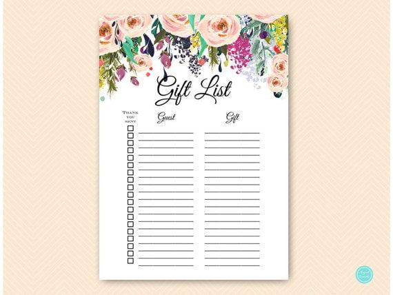 Wedding Gift List Checklist: Garden Gift List Bridal Shower Gift List Baby Shower Gift