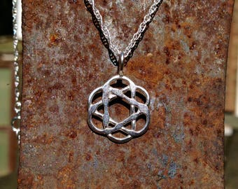 Borromean link rings necklace // Sterling silver // Metatron's cube // Celtic knot // Flower of life // Atom
