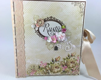 Vintage scrapbook album, Family scrapbook album, Shabby chic album