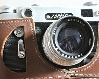 Vintage camera, Zorki 6, Soviet camera, collectible camera, made in USSR, leather case camera