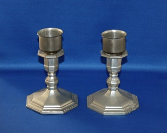 "Vintage 6-1/2"" Gorham Pewter Candlestick PH29 Set of 2 with Insert Cups candle holder"