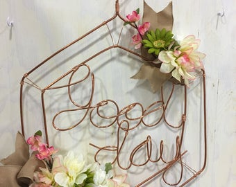Good day wreath Wall hanging in copper