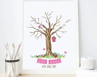 Wedding • Baby Shower • Christening  Fingerprint Tree - GUESTBOOK ALTERNATIVE - Colours are changeable - Comes with ink!