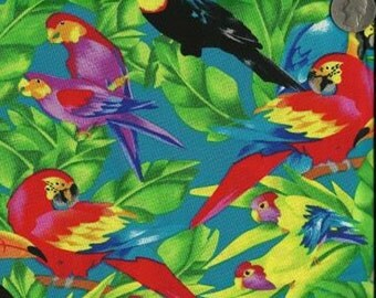 Timeless Treasures Quilting Cotton Fabric Parrots in Jungle Bright 127591 - 1/2 Yard
