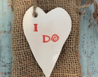 Heart shaped Christmas ornament favor