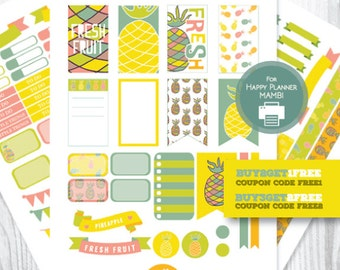 Happy Planner Stickers, Pineapple Weekly Planner Stickers, Pineapple Happy Planner, Printable Planner Stickers, Summer MAMBI Stickers Kit