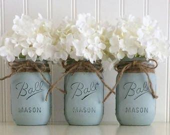 Painted Mason Jars, Mason Jar Centerpiece, 3 Vintage Blue Mason Jars, Mason Jar Wedding Decor, Southern Wedding Decor, Country Wedding Decor