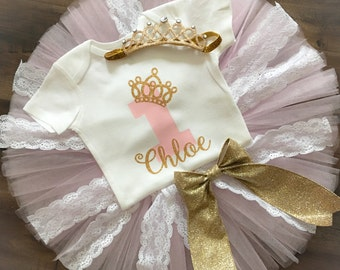 Pink and Gold First Birthday Outfit Girl, Tiara Birthday Outfit, Tulle and Lace Tutu, Personalized Birthday Outfit, Crown Birthday Outfit