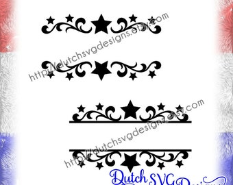 2 Swirly split border cutting files with stars, in SVG EPS DXF, for Cricut & Silhouette, monogram svg, decorative border svg, split name svg