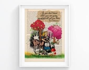 Alice In Wonderland Vintage Illustration Print Decorative Art Book Page Upcycled Page Print Retro Poster Vintage Book print 088