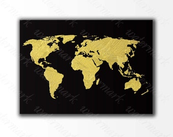 Gold World map Digital art print Oil paint wall art Printable poster, Instant Download