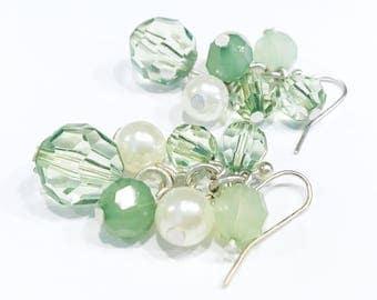 green cluster earrings, pearl dangle earrings, beaded earrings, green accessories, earrings handmade, jewelry for mom, st patricks day gift
