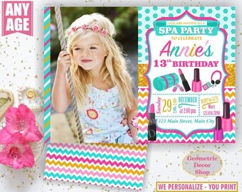Spa Birthday Invitation / Sleepover / Girl Invitations / Invite / Slumber Party / Invites / Photo Photograph Gold Aqua Pink Teal BDSpa2
