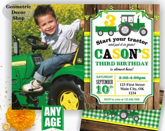 Tractor Birthday Invite, Tractor Invitation, Tractor Birthday Invitations, Yellow, Woodland Green Plaid Boy Girl Photo Photograph Farm BDT21