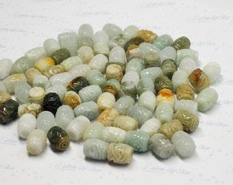 Carved Natural Ancient Mixed Color Jadeite Barrel Bead: 13 - 13.5 x 16 - 16.5mm (10pcs per pack)