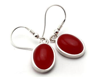 Jade Earrings, 925 Sterling Silver, Unique only 1 piece available! color red, weight 6.9g, #44768