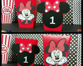10 Minnie Mouse Inspired Snack/Favor Boxes, Minnie Party Popcorn Box,
