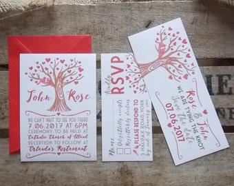 Rustic Vintage Wedding Invitations Love Tree Set