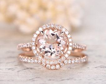 8mm Round Cut Morganite Engagement Ring,2pcs Rings Set,Curved Wedding Band,14K Rose Gold Diamond Matching Band,Bridal Set,Wedding Ring Set