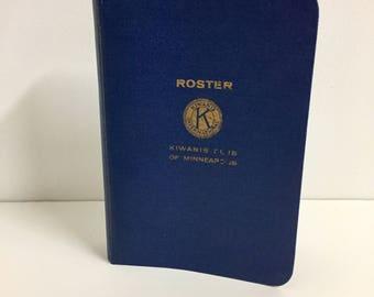 Vintage Notebook Binder/ Vintage Kiwanis Roster Binder/ Vintage Six Ring Binder