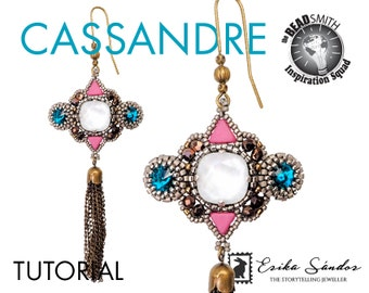Cassandre earrings beadwork tutorial - pdf instructions with cabochons, kheops beads, seed beads, rivolis, cushion cut cabochons