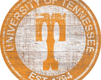 """University Of Tennessee NCAA Round Distressed Historic Established Wood Sign 24"""" In Diameter"""