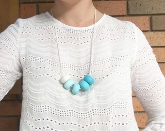 Blue Ombre Beaded Necklace