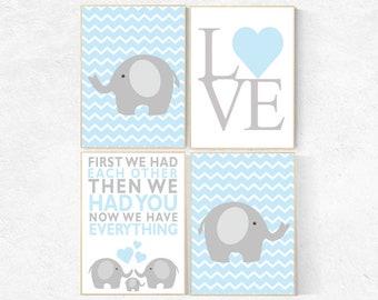 First We Had Each Other, blue gray nursery, boys room decor, Elephant Nursery Art, Nursery Decor, Baby boy Nursery Prints, blue nursery art