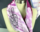 Women's Pink Scarf, Equality, Peace Sign, Handmade Scarf, One of a Kind, Upcycled T shirt Scarf, Women's Movement, Giving Back, Valentines