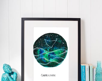 Constellation of Capricorn above dark seas print, Instant Download, Capricorn Painting,Capricorn Print Digital Download, Zodiac Art