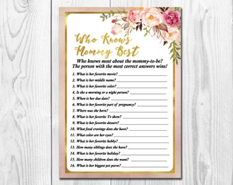 Faux Gold Foil Boho Baby Shower Game Who Knows Mommy Best, Watercolor Flowers, Floral Mommy Trivia, Printable, Instant Download, Pink & Gold
