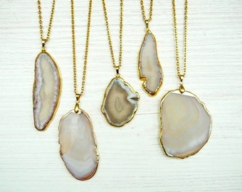 Gray Agate Slice Necklace Gray Agate Pendant Gift for Women Necklace Gray Stone Pendant Long Necklace Agate necklace Healing Boho necklace