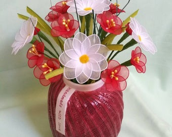 wildflower vase, wildflower bouquet,handmade nylon flowers,nylon flowers,handmade flowers,unique gift idea,daisy,daisy flower **